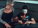Granny sucking and fucking masked young boy
