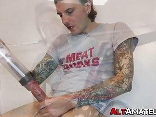 Inked punk amateur solo and fucks toys...
