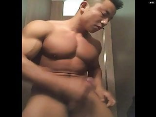 Asian bodybuilder guy show big cock