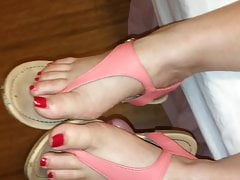 He fucks my feet in sexy pink thong sandals