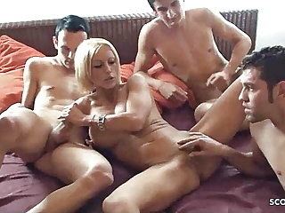 GERMAN MILF IN REAL AMATEUR MMMF GROUP SEX WITH YOUNG GUYS