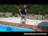 slippery nuru massage for lucky poolboy