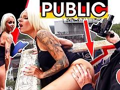 dates66.com Blonde MILF fucks stranger on stairs PUBLIC