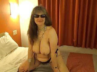 Tinja drops black top to show perfect breasts...