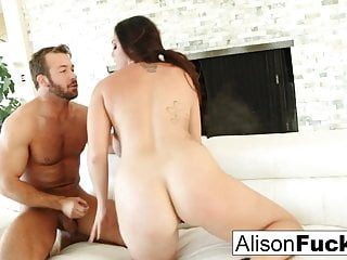 Big Boobs Brunette porno: Beautiful Alison Tyler takes on a big dick and swallows it