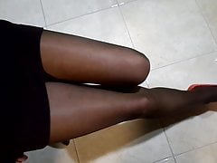 My legs are in nylon pantyhose, with heels and without heels