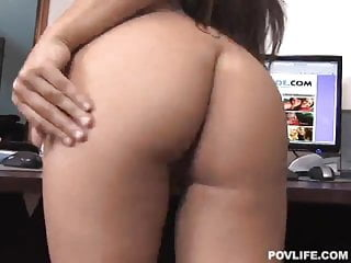 busty Asian Kayme Kai stroking and blowing cock and then get