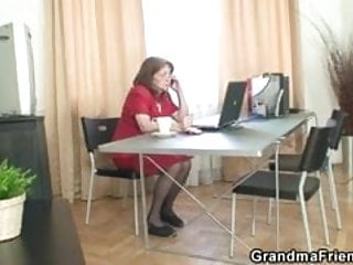 Bossy mature woman takes two thick cocks at...
