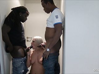 Black Monster Cock Threesome for German Teen Lara CumKitten