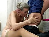 not Grandmother drilled hard by lucky young cock
