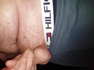 Jerking young cock with...