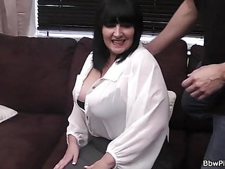 Busty brunette is picked up and fucked