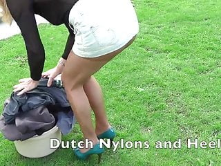 Outdoor pantyhose teasing...