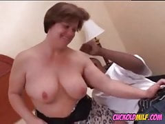 Cuckolds wife gagging on huge black cock but loves it