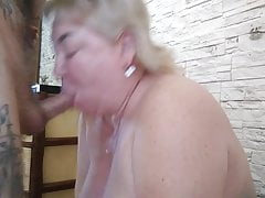 homemade blowjob from mature mother-in-law with big breasts
