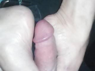 Sexy asian rubs white cock with tiny feet...
