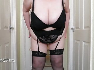 Granny student with huge ample bosoms ass...