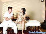 Massage amateur sucking on masseurs dick