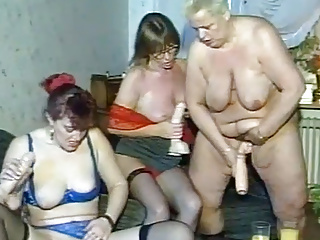Granny dildo party turns sex...