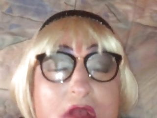 Sissy blonde with glasses and hard slap face...
