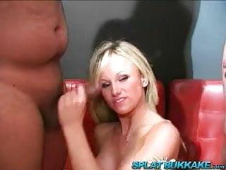 Uk blonde barbie gets bukkake facial cumshots...
