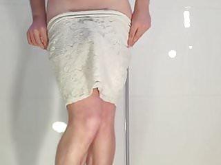In mini high waist skirt strips down totaly...